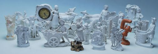 A group of 20th Century bisque parian ware figurin