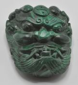 An unusual contemporary chines malachite belt buck