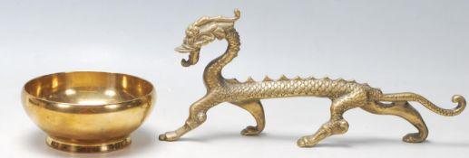 A 20th century Chinese antique bronze / brass pray