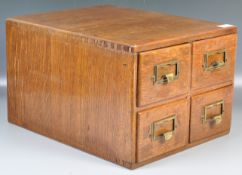 EARLY 20TH VINTAGE INDUSTRIAL OAK TABLE TOP INDEX CABINET