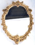 20TH CENTURY ROCOCO REVIVAL GILT WALL MIRROR