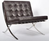 CHROME X-FRAME BARCELONA CHAIR IN BROWN LEATHER