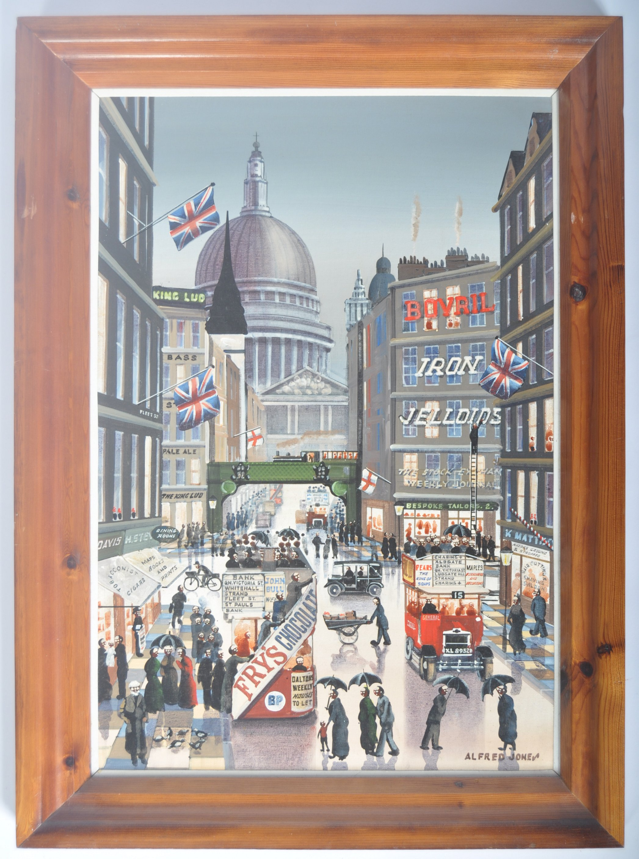 ALFRED JONES OIL ON BOARD PAINTING DEPICTING A LONDON STREET