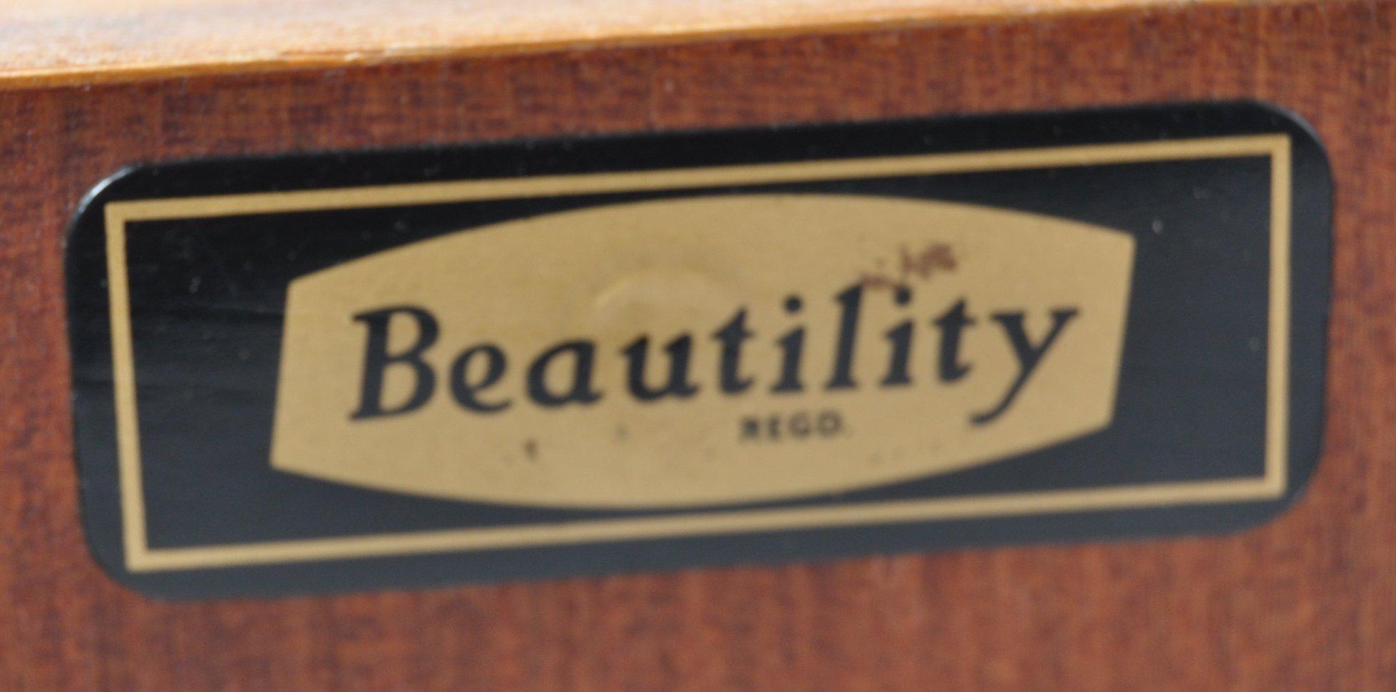 BEAUTILITY RETRO TEAK SIDEBOARD HAVING STYLIZED BELT BUCKLE HANDLES - Image 10 of 10