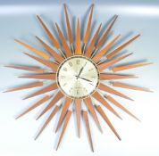 SETH THOMAS OF SCOTLAND RETRO TEAK AND BRASS SUNBURST CLOCK