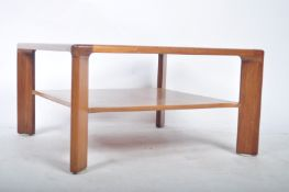 NATHAN FURNITURE MID CENTURY COFFEE TABLE OF SQUARE FORM WITH GLASS PANEL ATOP