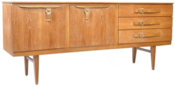BEAUTILITY RETRO TEAK SIDEBOARD HAVING STYLIZED BELT BUCKLE HANDLES