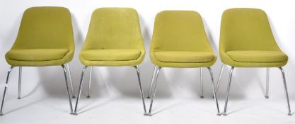 GREAT SET OF FOUR RETRO GREEN UPHOLSTERED DINING / OFFICE CHAIRS