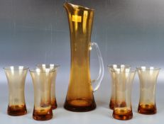 20TH CENTURY STUDIO ART GLASS AMBER LEMONADE SET