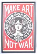 OBEY CONTEMPORARY ART NOUVEAU STYLE MAKE ART NOT WAR POSTER
