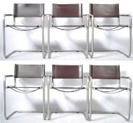 SET OF SIX ITALIAN CANTILEVER ARMCHAIRS HAVING BROWN LEATHERETTE RESTS