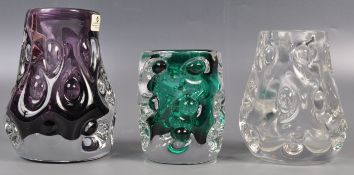 COLLECTION OF LISKEARD STUDIO ART GLASS VASES