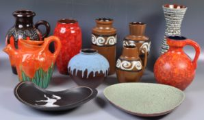 COLLECTION OF WEST GERMAN FAT LAVA POTTERY ITEMS