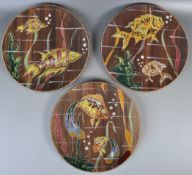 SET OF THREE 20TH CENTURY STDIO ART POTTERY FISH PLATES