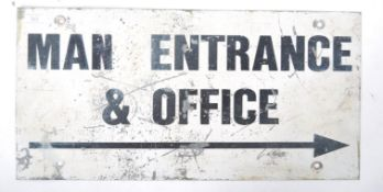 VINTAGE 20TH CENTURY INDUSTRIAL METAL PAINTED OFFICE SIGN