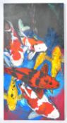 LARGE AND IMPRESSIVE OIL ON CANVAS PAINTING OF KOI CARP