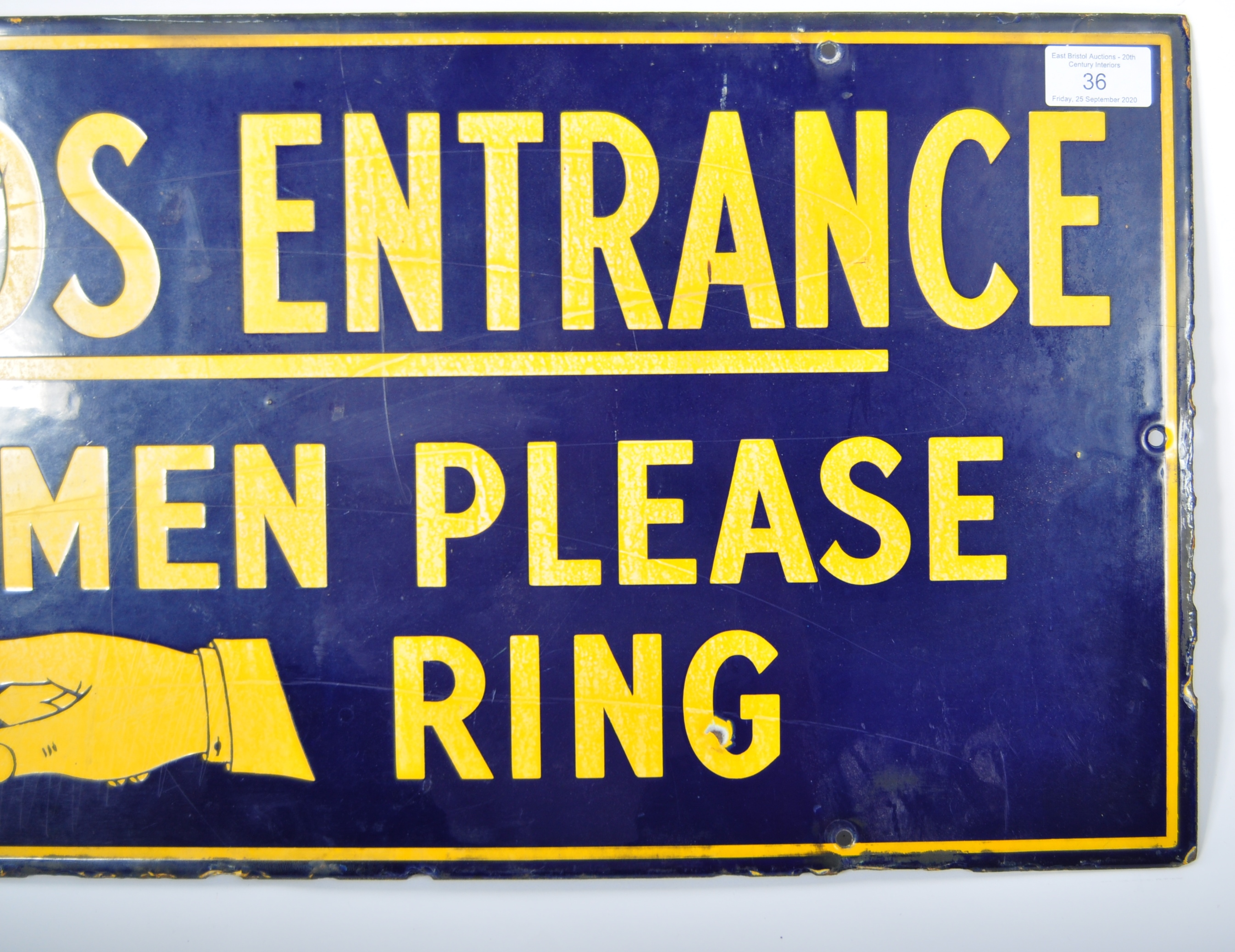 Lot 36 - GOODS ENTRANCE EARLY 20TH ENAMELED SIGN