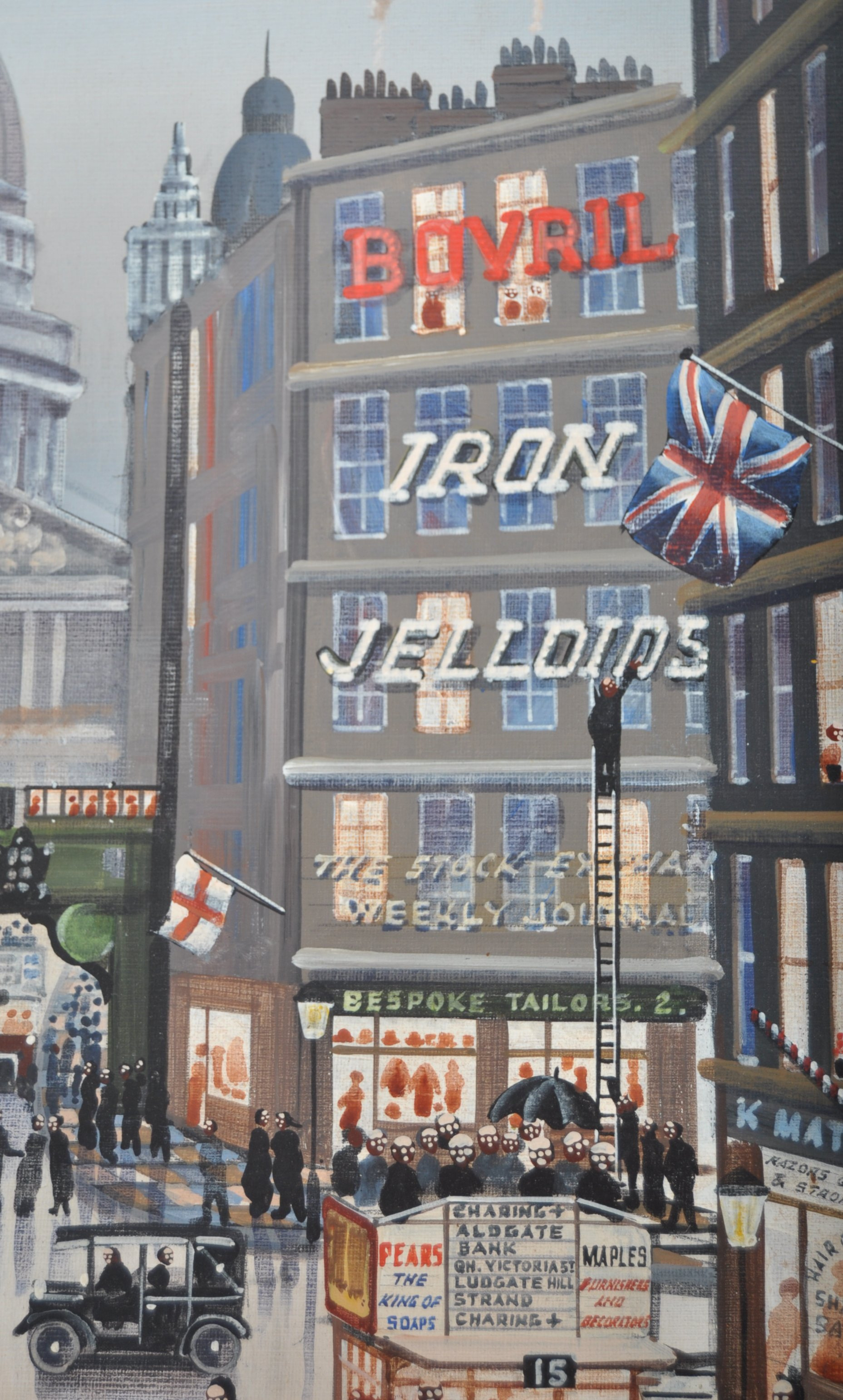 ALFRED JONES OIL ON BOARD PAINTING DEPICTING A LONDON STREET - Image 3 of 6