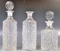 SET OF THREE WHITEFRIARS GLACIER STUDIO ART GLASS DECANTERS