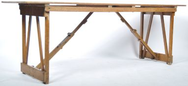 MID CENTURY VINTAGE INDUSTRIAL FOLDING WOODEN TRESTLE TABLE