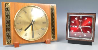 TWO VINTAGE TEAK WOOD RETRO TABLE CLOCKS