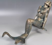 DECORATIVE 20TH CENTURY METAL MERMAID POOLSIDE STATUE / FIGURE