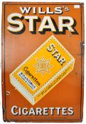 WILLS'S STAR CIGARETTES PICTORIAL ENAMELED ADVERTISING SHOP SIGN