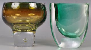 VICKE LINDSTRAND - KOSTA BODA - TWO SWEDISH ART GLASS PIECES