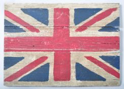 VINTAGE SHABBY CHIC PAINTED UNION JACK ON BOARD WALL HANGING