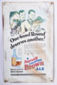 NEWCASTLE BROWN ALE LITHO PRINTED TIN ADVERTISING SIGN