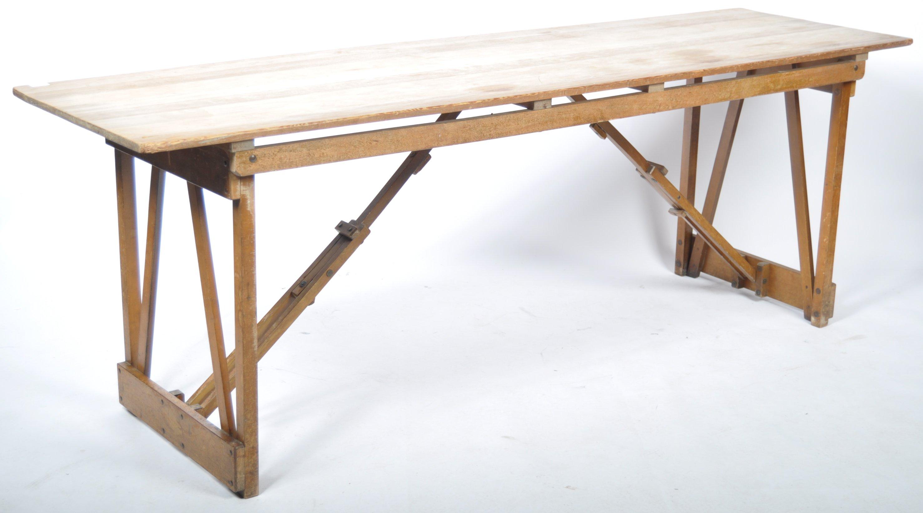 Lot 58 - MID CENTURY VINTAGE INDUSTRIAL FOLDING WOODEN TRESTLE TABLE