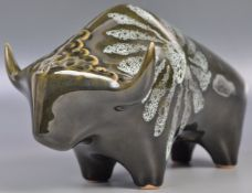ELIZABETH SKIPWORTH FOR LOTUS STUDIO POTTERY CERAMIC BULL