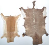 TWO RETRO VINTAGE SOUTH AFRICAN SKINS / HIDES ONE KUDU HIDE AND THE OTHER IMPALA