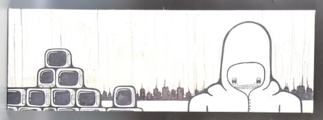 UNIKPRODUKT URBAN GRAFFITI CANVAS ART 'SUPERVISOR OF TELEVISIONS
