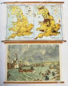 TWO VINTAGE SCHOOL / EDUCATIONAL WALL POSTERS - MAP & BRIXHAM