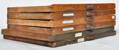 GOOD GROUP OF SIX EARLY 20TH CENTURY INDUSTRIAL MULTI SECTION DRAWERS