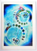 CONTEMPORARY MIXED MEDIA ABSTRACT ART PAINTING DEPICTING PLANETS