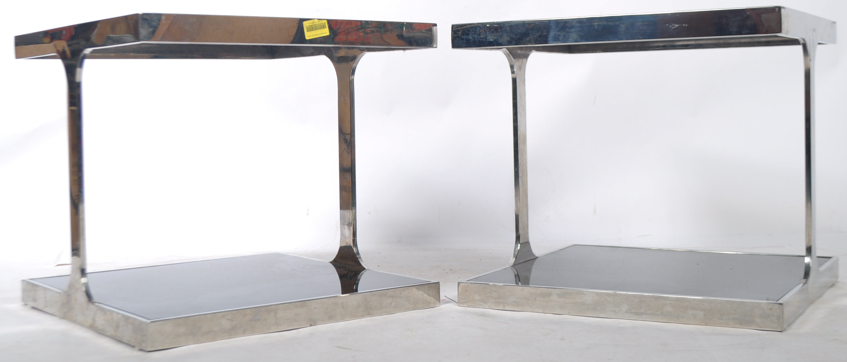 Lot 38 - PAIR OF FRENCH CHROME COFFEE / SIDE OCCASIONAL TABLES