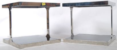 PAIR OF FRENCH CHROME COFFEE / SIDE OCCASIONAL TABLES