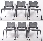 HERMAN MILLER SET OF SIX CAPER STACKING OFFICE CHAIRS