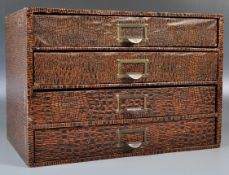 RETRO FOUR DRAWER INDEX FILING CABINET HAVING FAUX CROCODILE COVERING