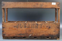 JOUANNY VINS FRENCH BOTTLE CRATE CARRIER OF PINE CONSTRUCTION
