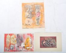 HENRY MOORE - BRITISH ARTIST 1898-1986 GROUP OF THREE ABSTRACT WATERCOLOUR PRINTS