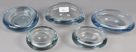 COLLECTION OF DANISH GLASS HOLMEGAARD BOWLS BY P. LUTKEN