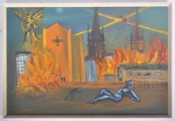 C. HOPEWELL MID CENTURY NAIVE OIL ON BOARD PAINTING OF THE DESTRUCTION OF COVENTRY CATHEDRAL