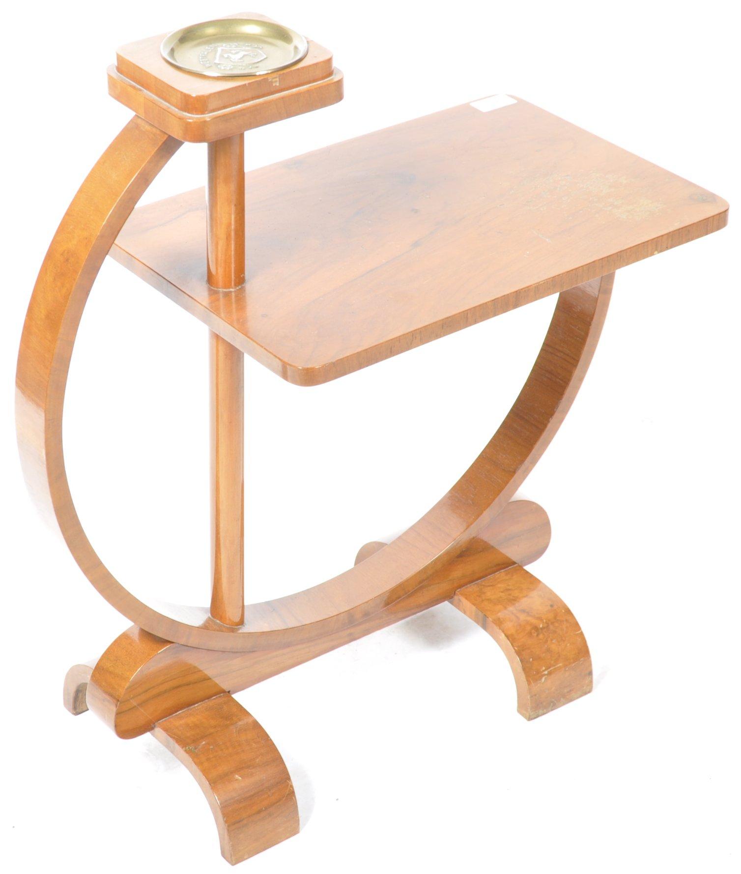 STUNNING ART DECO WALNUT SMOKER'S TABLE / SIDE TABLE - Image 2 of 4