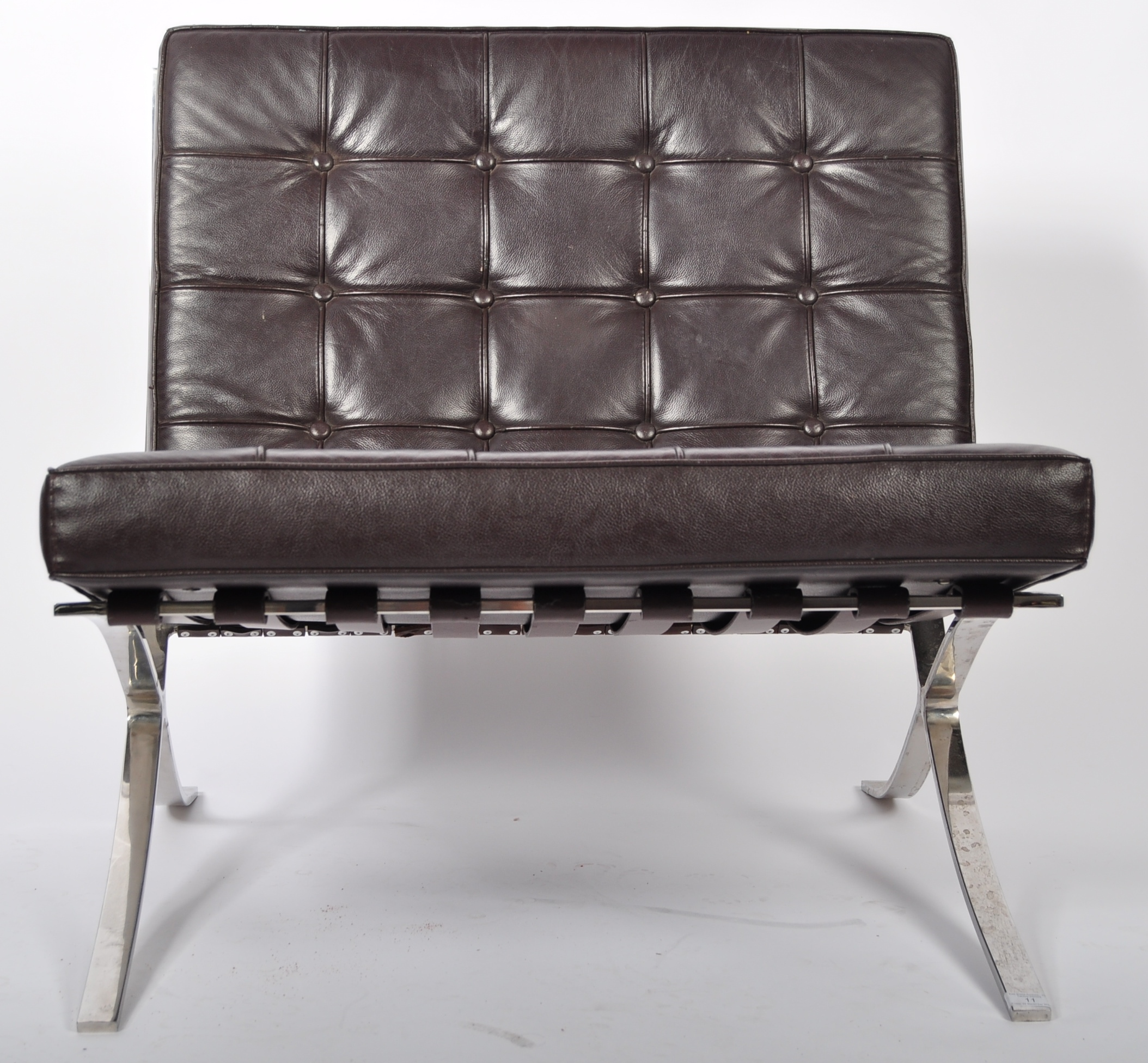 CHROME X-FRAME BARCELONA CHAIR IN BROWN LEATHER - Image 2 of 6