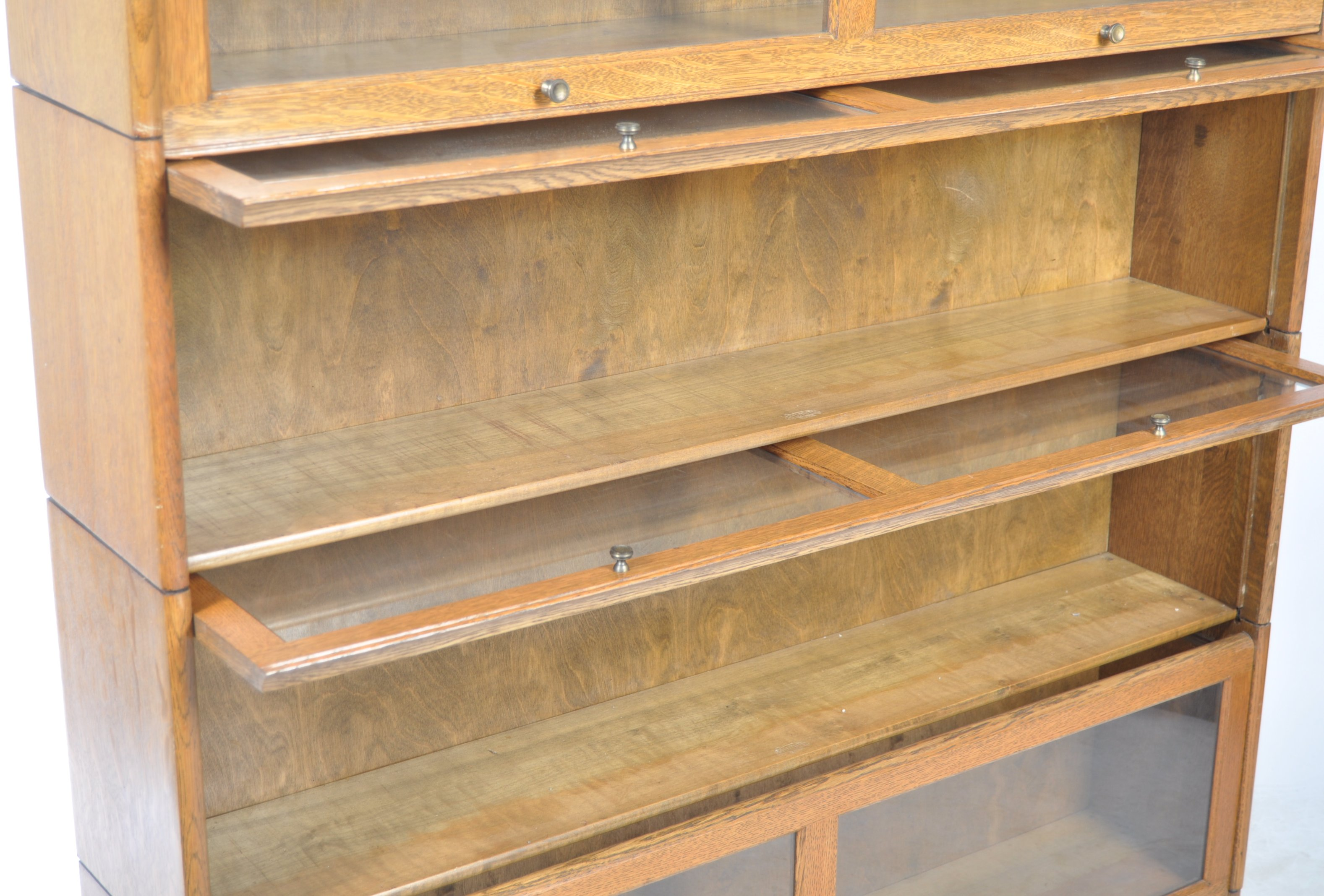 EARLY 20TH CENTURY FOUR SECTION LAWYERS STACKING BOOKCASE - Image 5 of 6