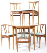 MID 20TH CENTURY DANISH INFLUENCE TEAK DINING TABLE AND SIX CHAIRS
