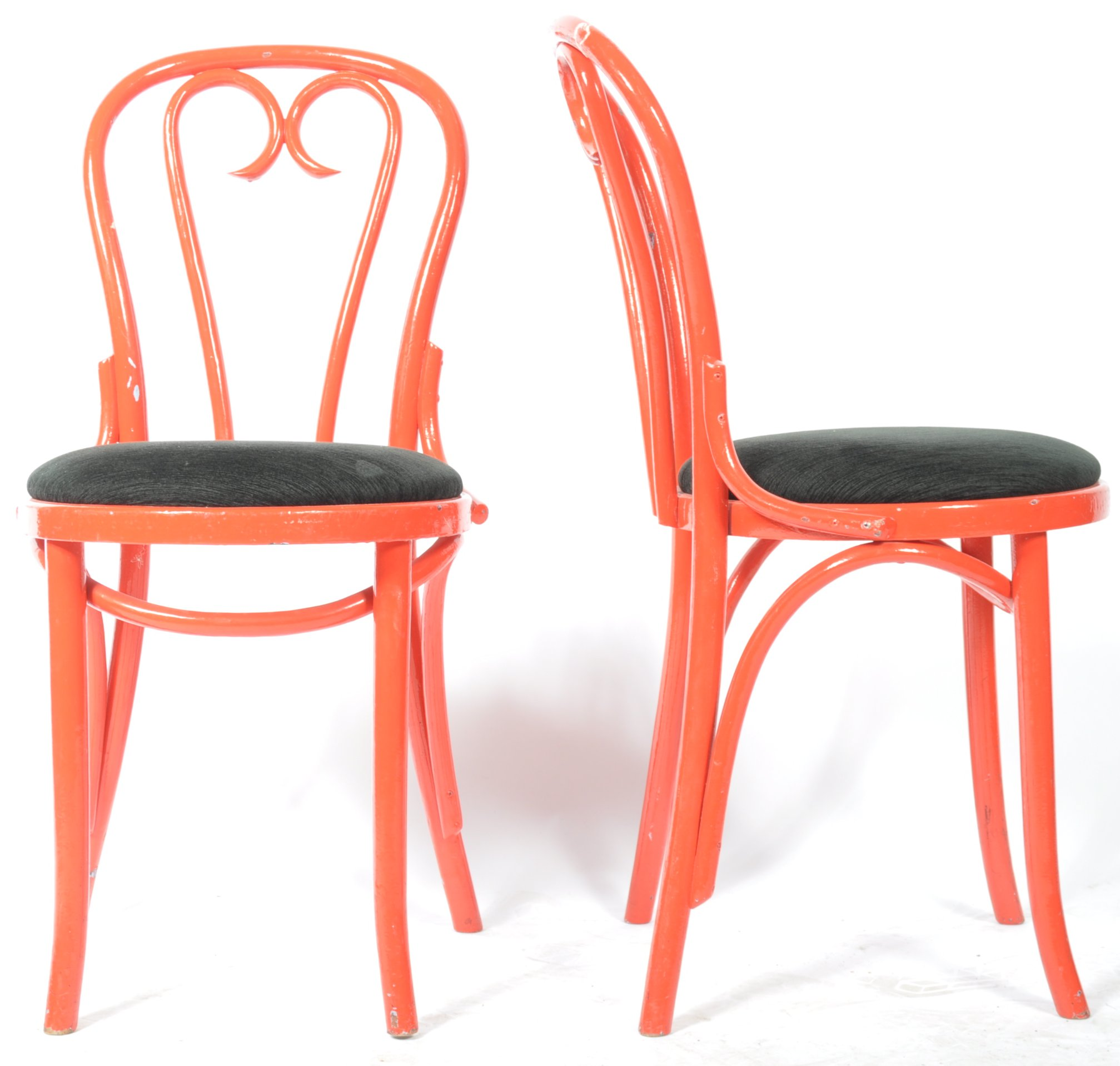 Lot 45 - SET OF NINE RETRO VINTAGE THONET STYLE BENTWOOD CAFE DINING CHAIRS